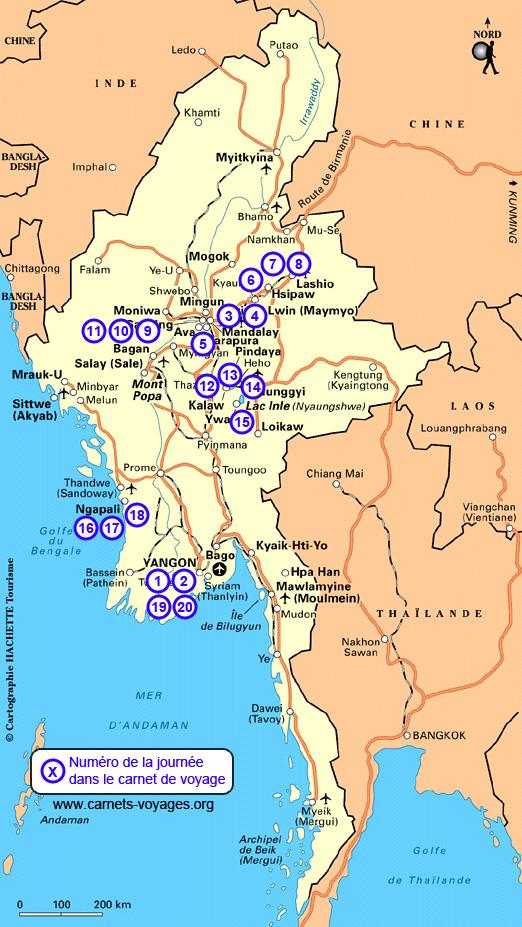 carte itinéraire voyage Birmanie