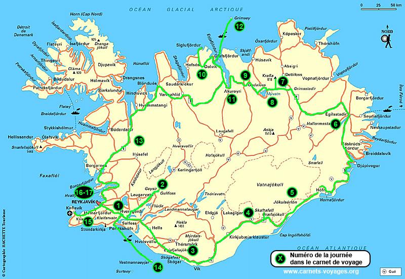 Islande carte touristique for Carte touristique