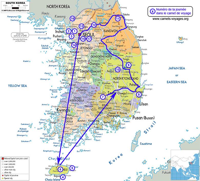 Carte itinéraire voyage Corée du Sud