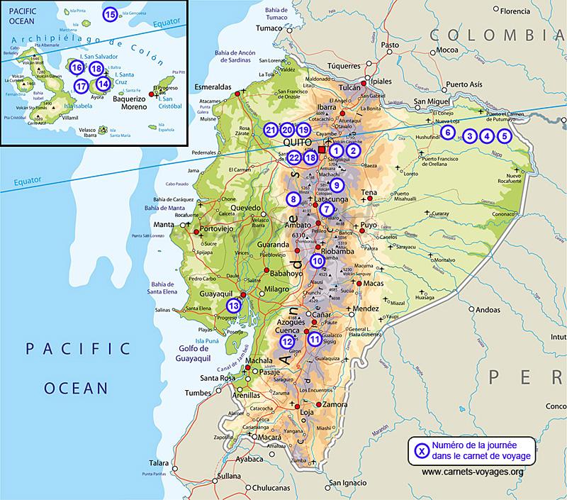 Carte itinéraire voyage 3 semaines Équateur