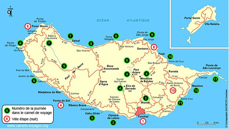 Carte itinéraire road trip Madère
