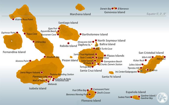 Carte archipel des îles Galapagos
