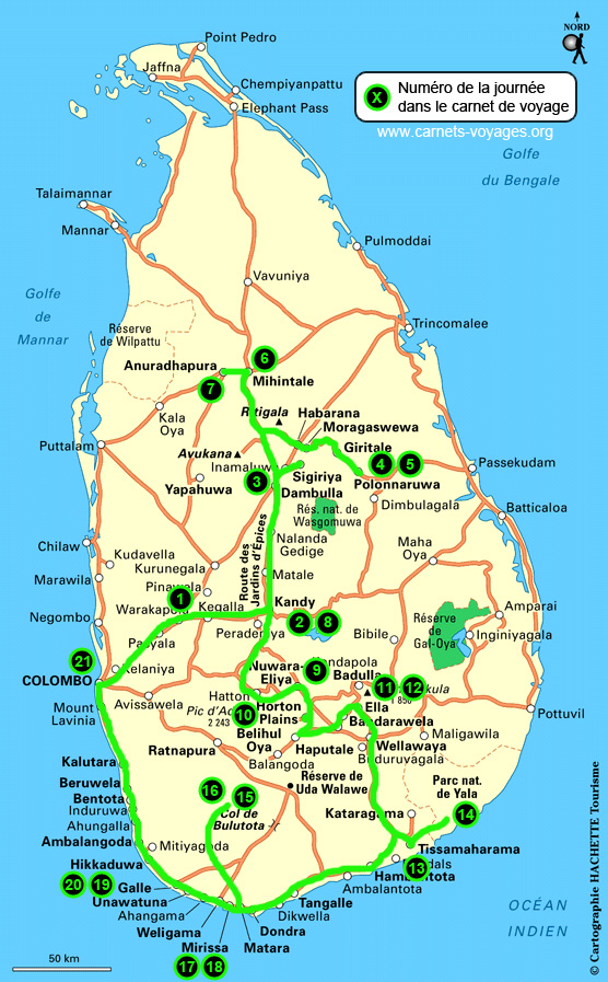 Carte itinéraire voyage Sri Lanka