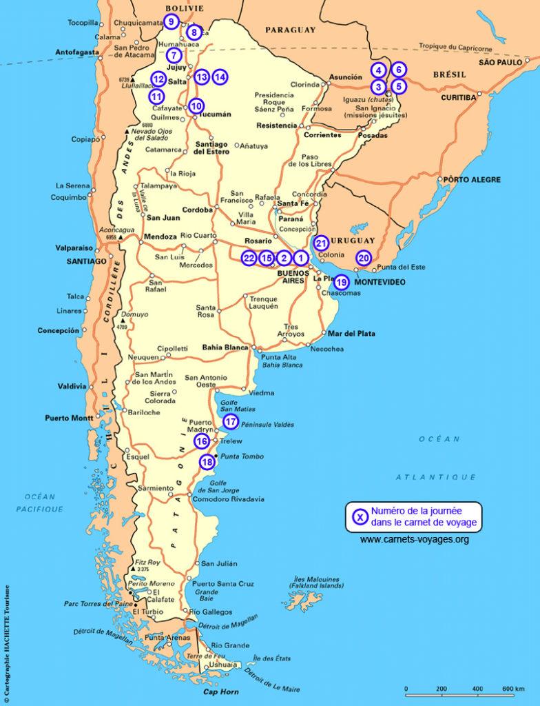 Carte itinéraire voyage 3 semaines en Argentine