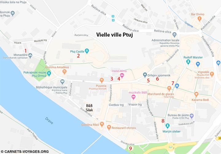 Plan vieille ville Ptuj et site d'intérêts