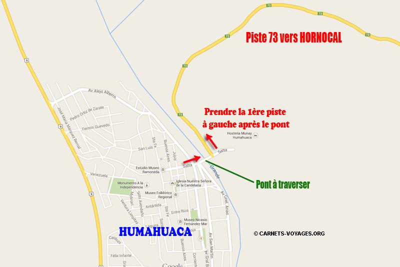 Carte itinéraire pour se rendre de Humahuaca à Hornocal - Road trip nord ouest argentin