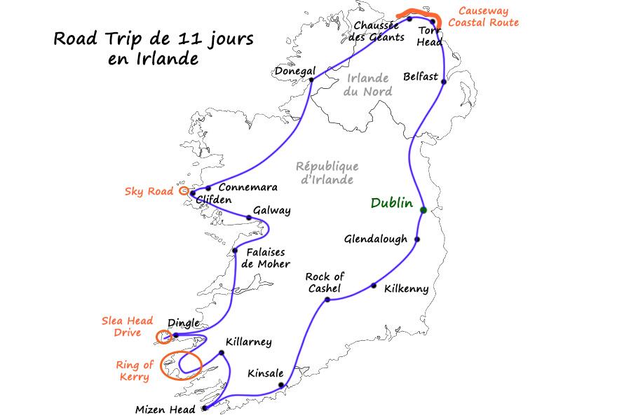Carte itinéraire road trip 11 jours Irlande