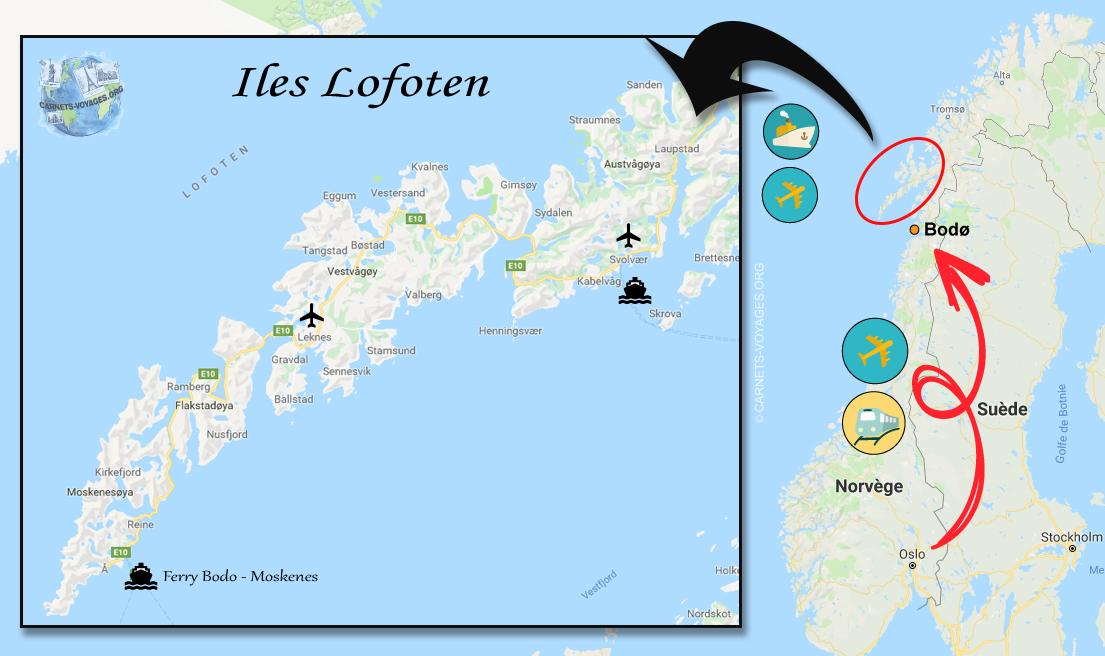 Carte transport Lofoten Norvège pour organiser son voyage