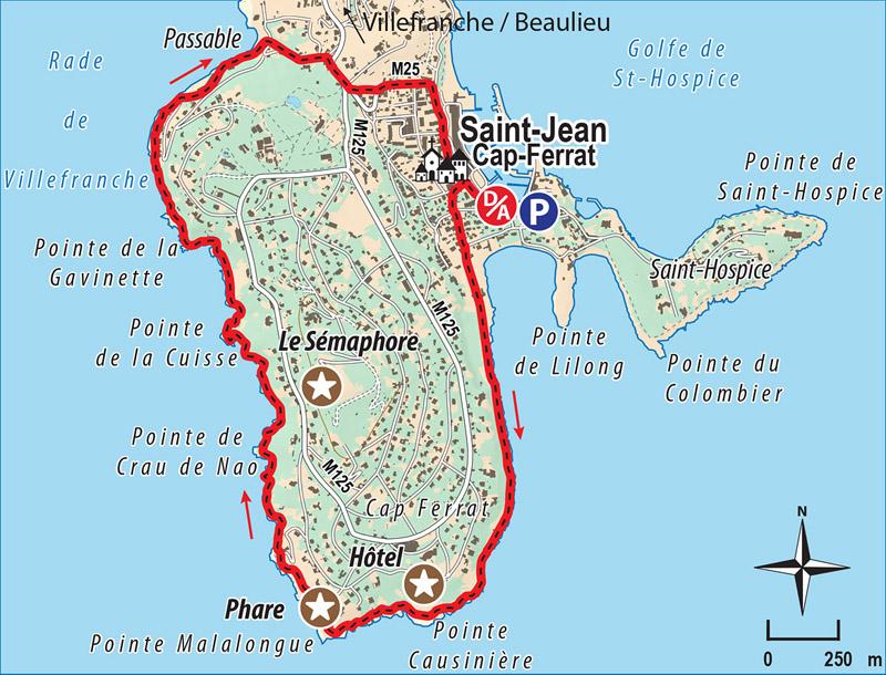 Carte randonnée tour de Saint Jean Cap Ferrat