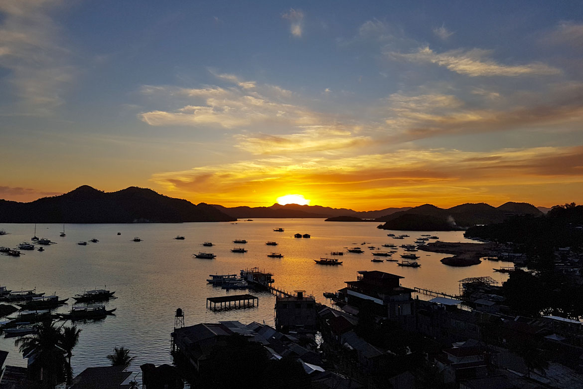 Philippines Coron sunburn rooftop coucher de soleil