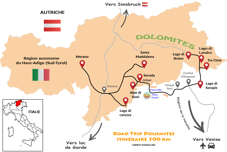 Carte itinéraire road trip Dolomites Italie