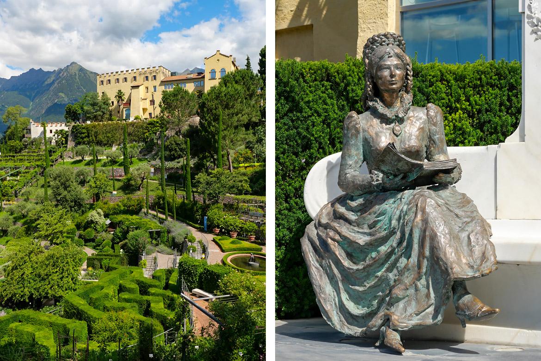Les jardins du château Trauttmansdorff et statue de Sissi à Merano Italie