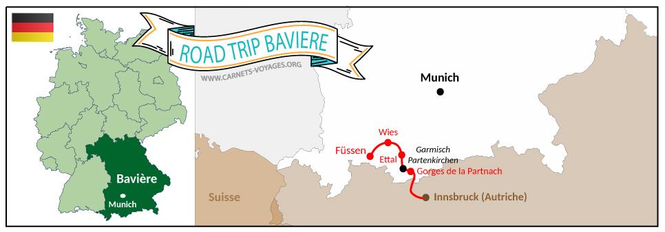 Carte itinéraire road trip Bavière Allemagne