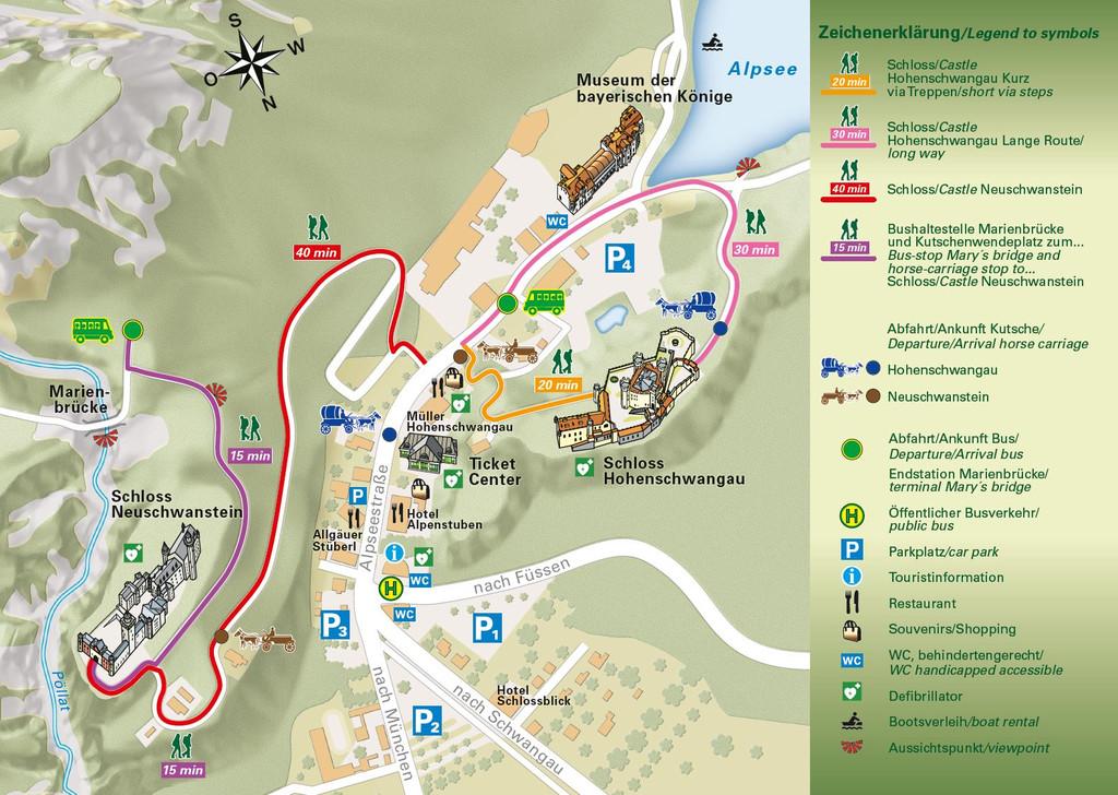 Plan accès au chateau de Neuschwanstein