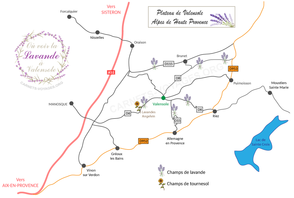 Carte lavande Valensole Provence