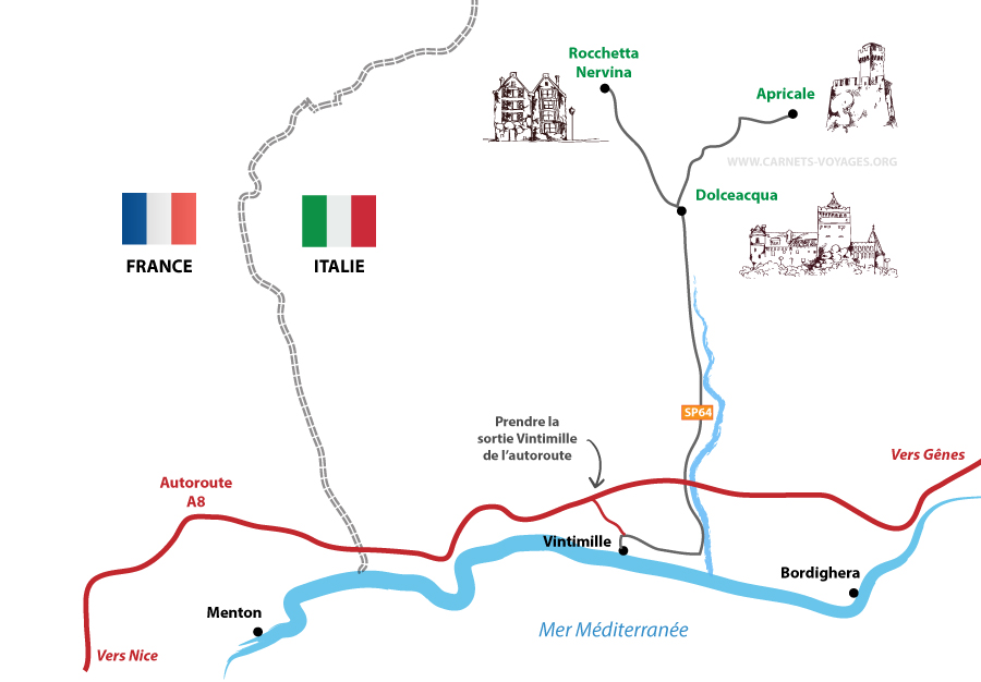Carte itinéraire pour visiter les villages de Dolceacqua, Apricale et Rocchetta Nervina