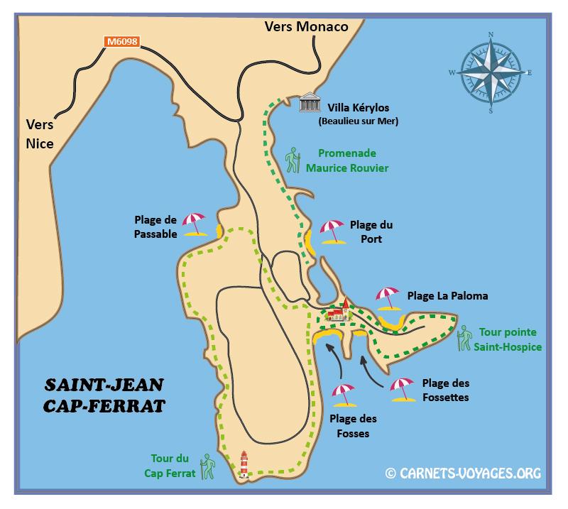 Carte plan Saint Jean Cap Ferrat avec plages et randonnées