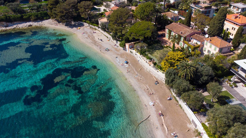 Plage des Fosses Saint Jean Cap Ferrat (vue drone)