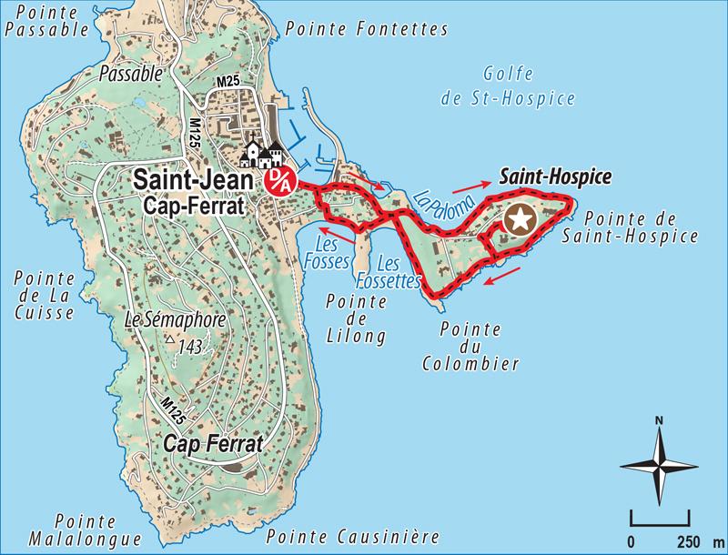 Itinéraire randonnée pointe saint hospice saint jean cap ferrat