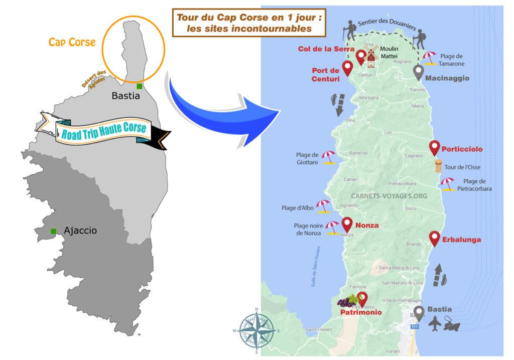 Carte sites incontournables du Cap Corse tour à faire en 1 jour