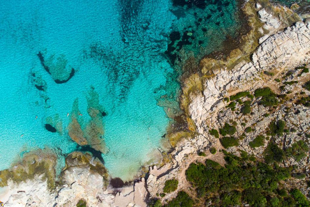 Plage du Lotu désert des Agriates Saint Florent Corse vue drone