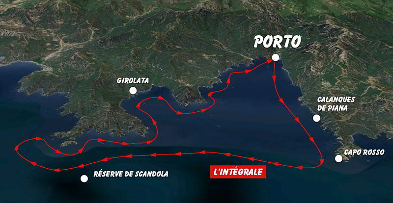 Carte excursion bateau calanque de Piana Corse