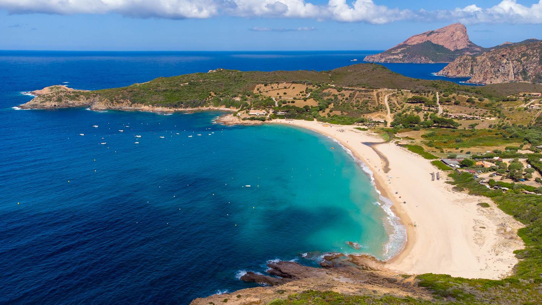 Plage d'Arone en Corse vue drone