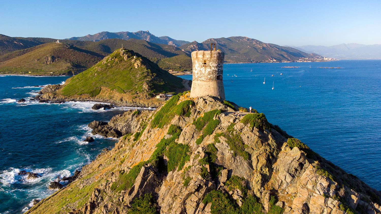 Tour génoise de la Parata (vue drone) Iles Sanguinaires Ajaccio Corse
