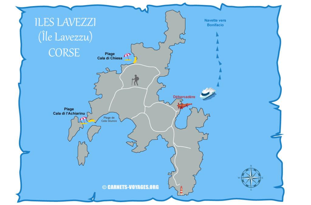 Carte des îles Lavezzi (Lavezzu) en Corse avec plages et débarcadère